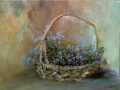 Basket with flowers, oil on canvas, 16x12 inches